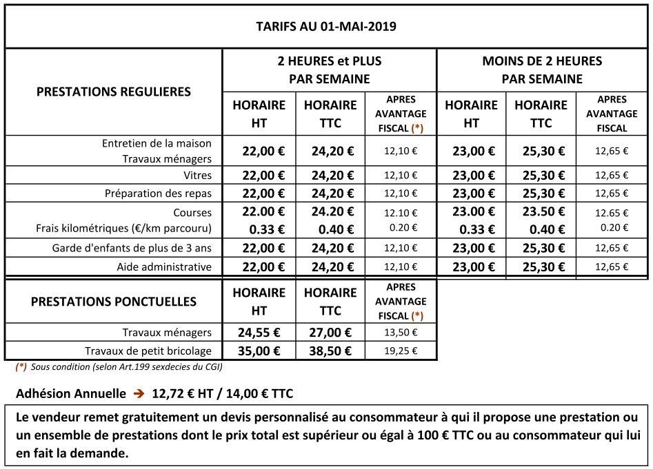 tarifs ttc services a domicile quimper